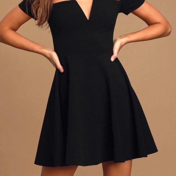 LuLu's Black Off-the-Shoulder Skater Dress